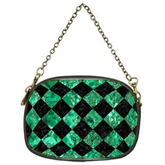 Square2 Black Marble & Green Marble Chain Purse (one Side) by trendistuff