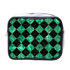 Square2 Black Marble & Green Marble Mini Toiletries Bag (one Side) by trendistuff