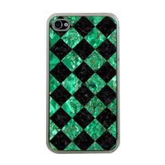 Square2 Black Marble & Green Marble Apple Iphone 4 Case (clear) by trendistuff