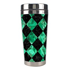 Square2 Black Marble & Green Marble Stainless Steel Travel Tumbler by trendistuff