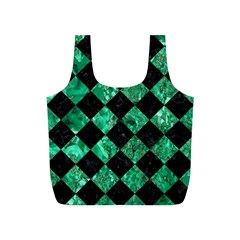 Square2 Black Marble & Green Marble Full Print Recycle Bag (s) by trendistuff