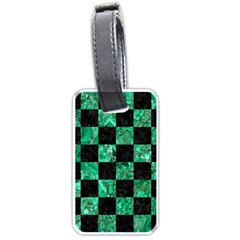 Square1 Black Marble & Green Marble Luggage Tag (one Side) by trendistuff