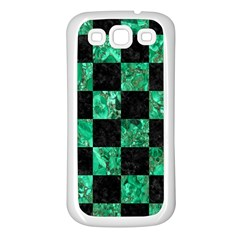Square1 Black Marble & Green Marble Samsung Galaxy S3 Back Case (white) by trendistuff