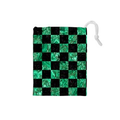 Square1 Black Marble & Green Marble Drawstring Pouch (small) by trendistuff