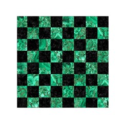 Square1 Black Marble & Green Marble Small Satin Scarf (square) by trendistuff