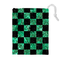 Square1 Black Marble & Green Marble Drawstring Pouch (xl) by trendistuff