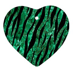 Skin3 Black Marble & Green Marble Ornament (heart) by trendistuff