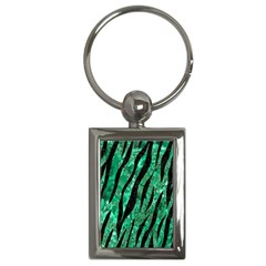 Skin3 Black Marble & Green Marble Key Chain (rectangle) by trendistuff