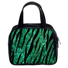 Skin3 Black Marble & Green Marble Classic Handbag (two Sides) by trendistuff