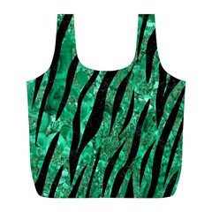 Skin3 Black Marble & Green Marble Full Print Recycle Bag (l) by trendistuff