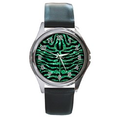 Skin2 Black Marble & Green Marble (r) Round Metal Watch by trendistuff