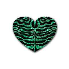 Skin2 Black Marble & Green Marble (r) Rubber Coaster (heart) by trendistuff