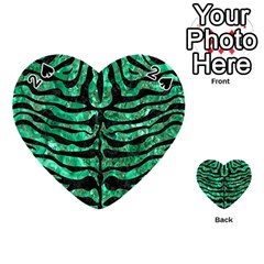 Skin2 Black Marble & Green Marble Playing Cards 54 (heart) by trendistuff