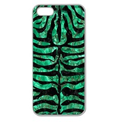 Skin2 Black Marble & Green Marble Apple Seamless Iphone 5 Case (clear) by trendistuff