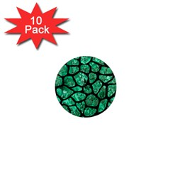 Skin1 Black Marble & Green Marble (r) 1  Mini Magnet (10 Pack)  by trendistuff