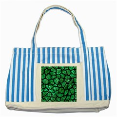 Skin1 Black Marble & Green Marble (r) Striped Blue Tote Bag by trendistuff