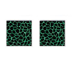 Skin1 Black Marble & Green Marble Cufflinks (square) by trendistuff