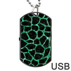 Skin1 Black Marble & Green Marble Dog Tag Usb Flash (one Side) by trendistuff