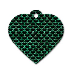 Scales3 Black Marble & Green Marble (r) Dog Tag Heart (one Side) by trendistuff