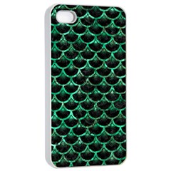 Scales3 Black Marble & Green Marble (r) Apple Iphone 4/4s Seamless Case (white) by trendistuff