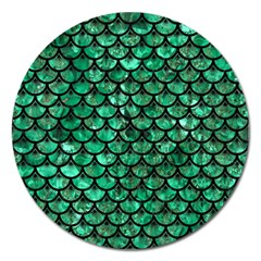 Scales3 Black Marble & Green Marble Magnet 5  (round) by trendistuff