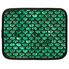 Scales3 Black Marble & Green Marble Netbook Case (xxl) by trendistuff