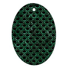 Scales2 Black Marble & Green Marble (r) Ornament (oval) by trendistuff