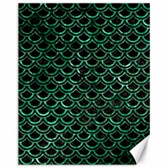 Scales2 Black Marble & Green Marble (r) Canvas 11  X 14  by trendistuff