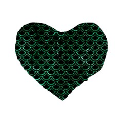 Scales2 Black Marble & Green Marble (r) Standard 16  Premium Heart Shape Cushion  by trendistuff