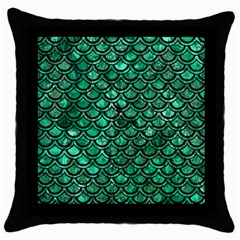 Scales2 Black Marble & Green Marble Throw Pillow Case (black)