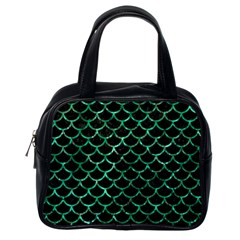 Scales1 Black Marble & Green Marble (r) Classic Handbag (one Side) by trendistuff