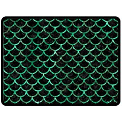 Scales1 Black Marble & Green Marble (r) Double Sided Fleece Blanket (large) by trendistuff