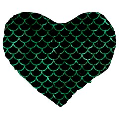 Scales1 Black Marble & Green Marble (r) Large 19  Premium Flano Heart Shape Cushion