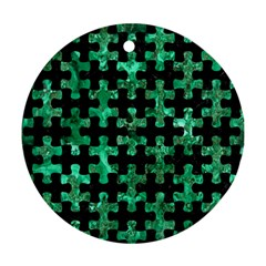Puzzle1 Black Marble & Green Marble Ornament (round) by trendistuff