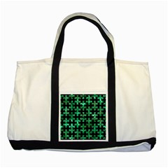 Puzzle1 Black Marble & Green Marble Two Tone Tote Bag by trendistuff
