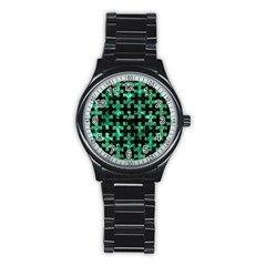 Puzzle1 Black Marble & Green Marble Stainless Steel Round Watch by trendistuff