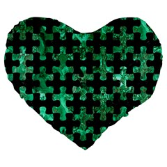 Puzzle1 Black Marble & Green Marble Large 19  Premium Flano Heart Shape Cushion by trendistuff