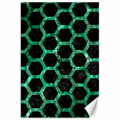 Hexagon2 Black Marble & Green Marble (r) Canvas 20  X 30  by trendistuff