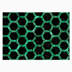 Hexagon2 Black Marble & Green Marble (r) Large Glasses Cloth (2 Sides) by trendistuff