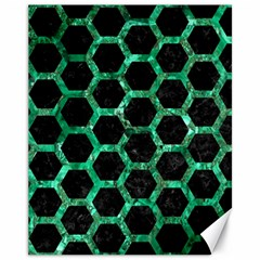 Hexagon2 Black Marble & Green Marble (r) Canvas 11  X 14  by trendistuff