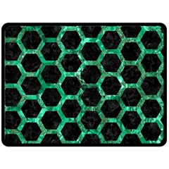Hexagon2 Black Marble & Green Marble (r) Double Sided Fleece Blanket (large) by trendistuff