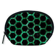 Hexagon2 Black Marble & Green Marble (r) Accessory Pouch (medium) by trendistuff