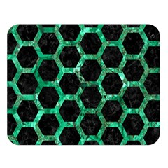 Hexagon2 Black Marble & Green Marble (r) Double Sided Flano Blanket (large) by trendistuff