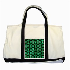 Hexagon2 Black Marble & Green Marble Two Tone Tote Bag by trendistuff