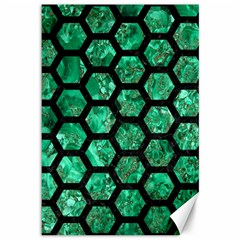 Hexagon2 Black Marble & Green Marble Canvas 12  X 18  by trendistuff