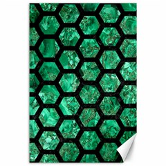 Hexagon2 Black Marble & Green Marble Canvas 24  X 36  by trendistuff