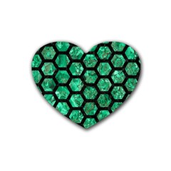Hexagon2 Black Marble & Green Marble Rubber Coaster (heart) by trendistuff