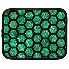 Hexagon2 Black Marble & Green Marble Netbook Case (large) by trendistuff