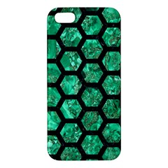Hexagon2 Black Marble & Green Marble Iphone 5s/ Se Premium Hardshell Case by trendistuff