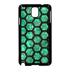 Hexagon2 Black Marble & Green Marble Samsung Galaxy Note 3 Neo Hardshell Case (black) by trendistuff